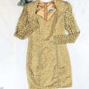 Vintage Gold Lace Sweetheart Metallic Floral Dress